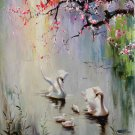 "Simple modern Hand painted oil painting on canvas""swan""65x93CM(25.6""x36.6"")Unframed-36"