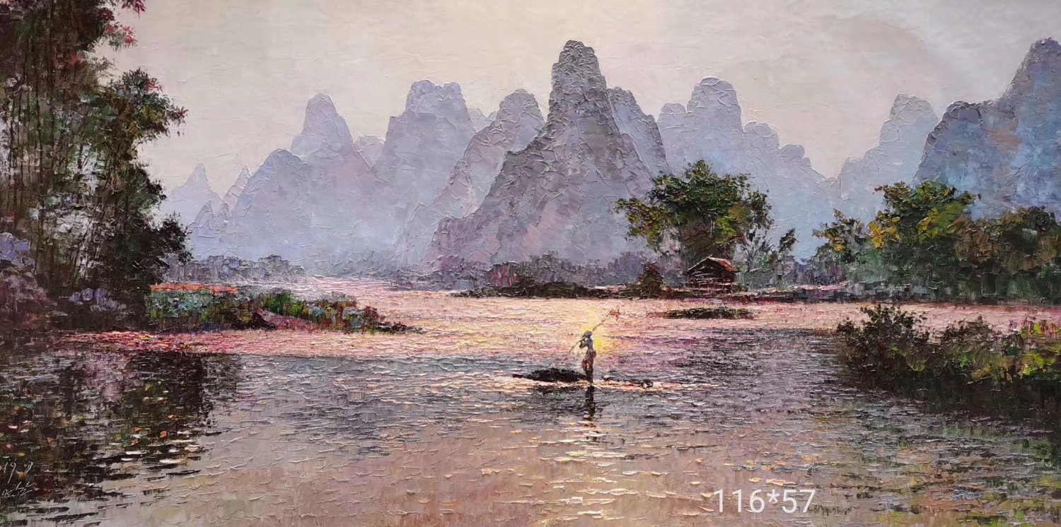 """Hand painted oil painting on canvas""""Mountain and water""""116x57CM(45.6""""x22.5"""")Unframed-822"""