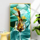 Modern abstract Wall Decor gold foil golden red wine cup decoration Art painting-05