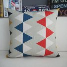 blue and red triangle printed cushion cover