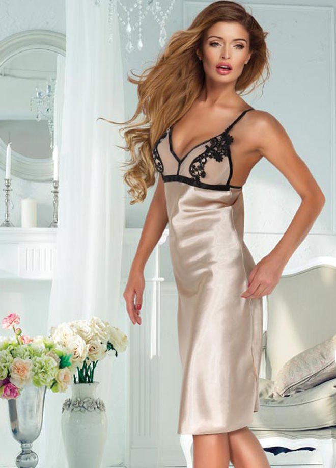 Women Satin Long Nightwear Sleepwear Gown Sexy Dress V Neck Lingerie
