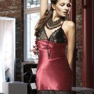 Gorgeus Satin Lace Short Sleapwear Nightwear Babydoll Women Dress Lingerie Nightgown