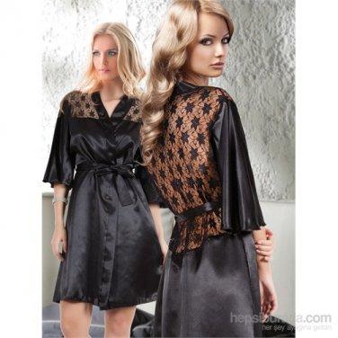 Women Gorgeus Luxory Nightwear Lace Neck Robe Sleepwear Nightgown
