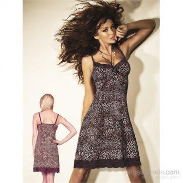 Women Leopard Nightwear Sleepwear Gown Sexy Dress V Neck S String Lingerie