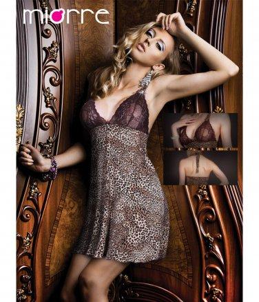 Women Lace Short Nightwear Sleepwear S String Leopard Sexy Dress Set Lingerie