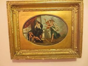 Antique 19th Italian Old Master on Bord Oval Oil painting.Super Frame 1800.