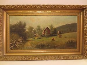 Antique 19th Impressionist Charles Boizard Bucolic Landscape Oil/Board Painting.