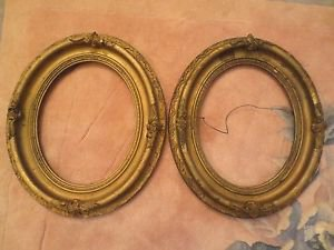 """Antique Ornate Gold Gesso Wood Painting Frame Oval for 10"""" x 8"""""""