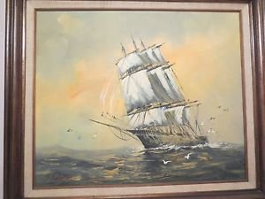 20th Century American Clipper Ship Sailing Calm Waters Marine Oil Painting NR.
