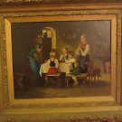 Antique 19th Old Victorian  Oil Painting On Canvas Of A Family Scene Signed