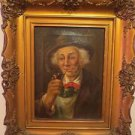 19th German Portrait Oil Painting Canvas Man Tobacco Pipe Gilt Frame