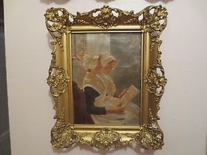"""Antique 19th Walter Firle ORIG Oil / Canvas Painting German """"Angelic Song""""."""