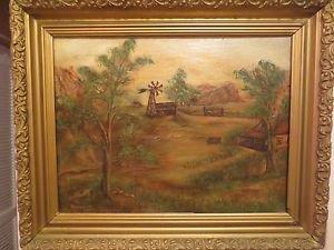 Antique American Walter Long 1940 Western Farm Landscape Oil/Canvas Painting