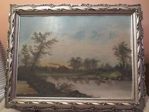 Antique Continental 19th c Landscape Oil on Board Painting Fishermen Lake