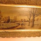 "Old 19th Century Continental School Oil on Canvas Painting ""Village River ""NR"