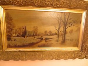 """Old 19th Century Continental School Oil on Canvas Painting """"Village River """"NR"""
