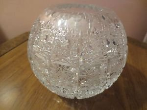 Rare Czech Bohemia Glass Cut Crystal Modernist Globe Circle Vase.NR