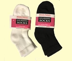 Diabetic Socks Wholesale Prices Men Crew Length Size 9-11 Black and White