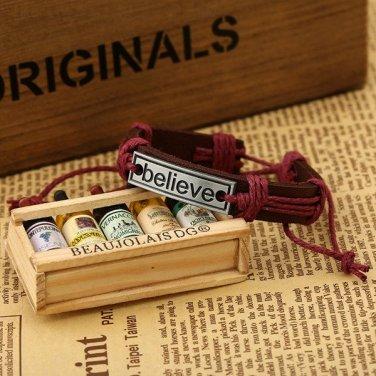 Back in Stock !!Adjustable leather bracelet - Believe