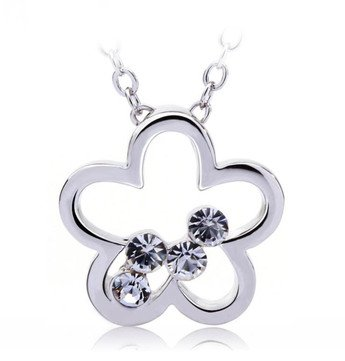 White Gold Plated Necklace with Flower pendant, and crystals.