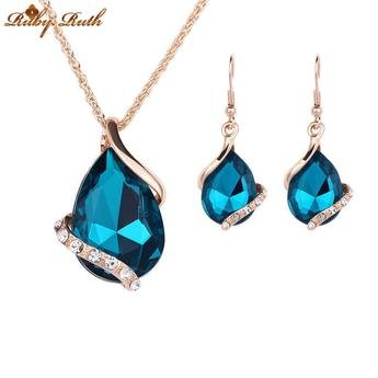 Water Drop Crystal, Rose Chain Necklace, and Earrings set