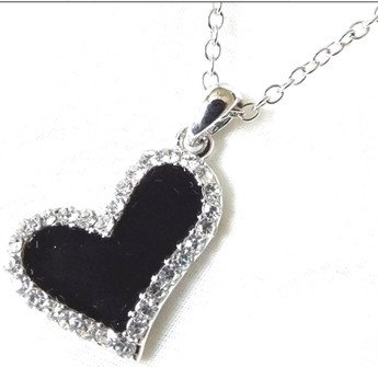 Black enamel love heart necklace