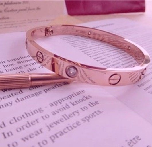 19e7b20f8e8fe ROSE GOLD CARTIER LOVE BRACELET WITH WHITE TOPAZ~ALL SIZES