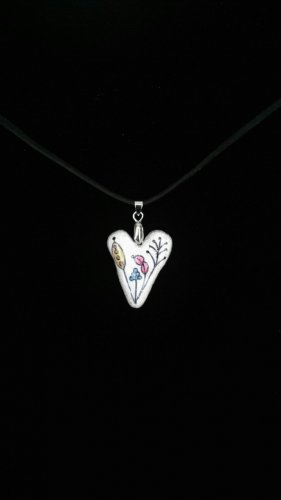 Heart Pendant with Flowers