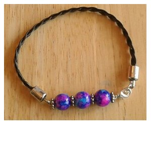 Leather & Purple Glass Bead Bracelet
