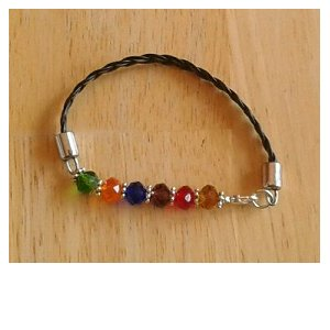 Multi color leather bracelet with glass beads