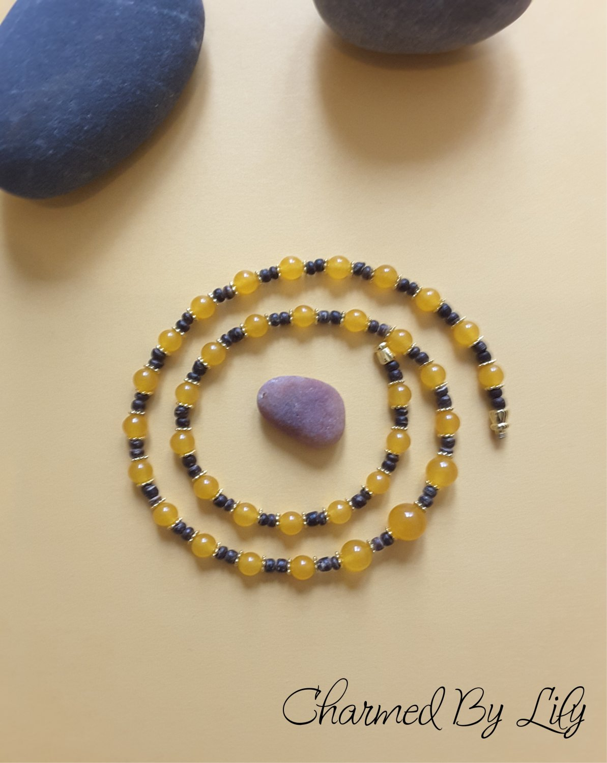 Yellow Jade Necklace. 6mm 8mm 10mm Round Beads. Genuine Natural Jade Stones.