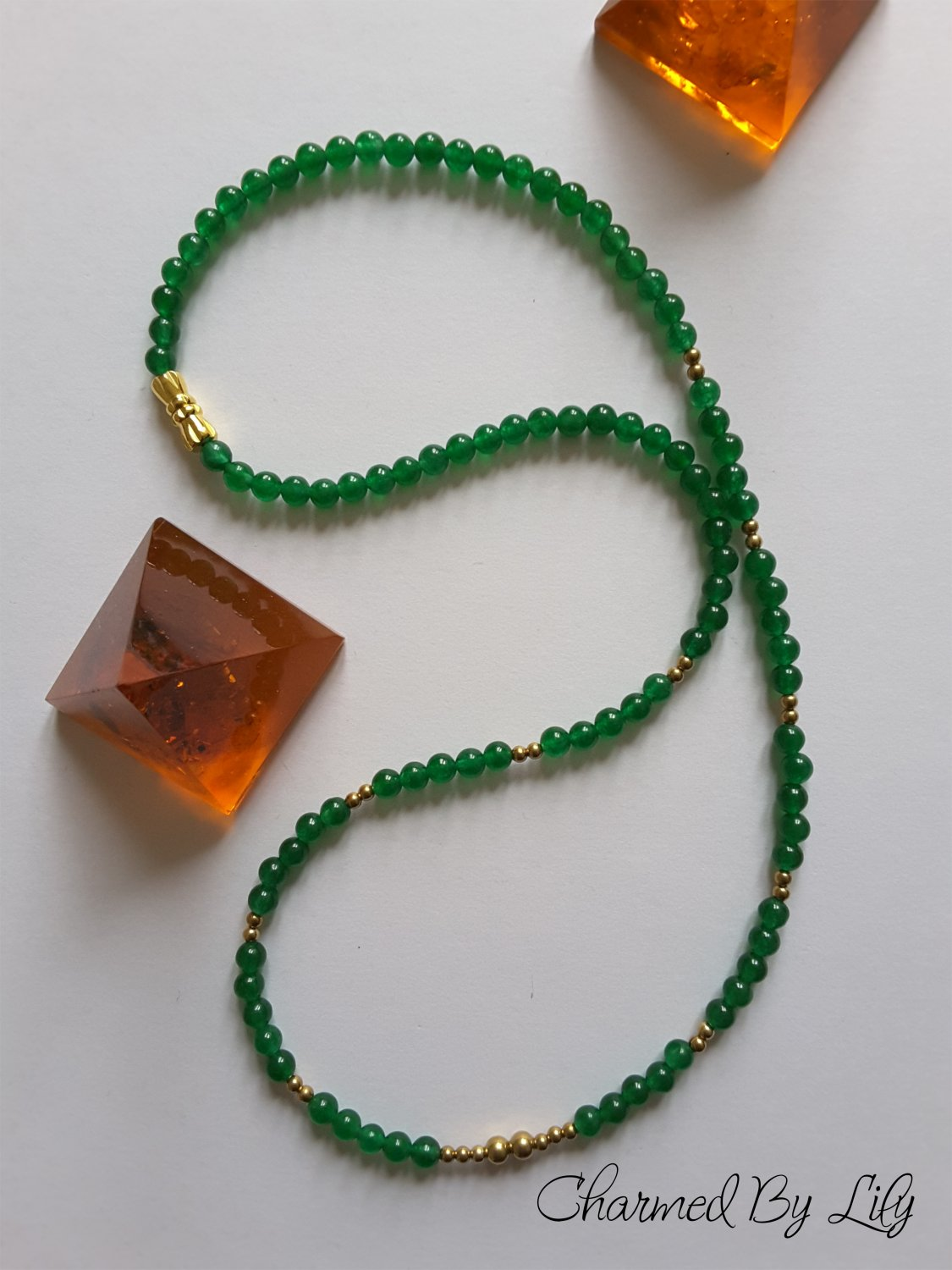Classic Dark Green Jade and Brass Necklace. Inspired by Ancient Sumeria.