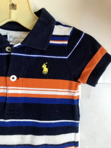 BABY BOYS POLO RALPH LAUREN STRIPED ONE PIECE OUTFIT ROMPER 3 Months Blue White Orange