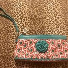 NEW Vera Bradley Frill Wristlet CALL ME CORAL  PINK TURQUOISE Wallet NWOT L@@k!!