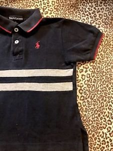 POLO RALPH LAUREN TODDLER BOYS NAVY BLUE SHIRT W/ RED AND GRAY 12-18M LG