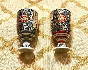 Vintage Set of Chinese Dynasty Porcelain Wine Glasses Goblets W/ Pedestal L@@k!!