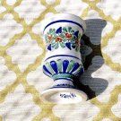 Handpainted & Signed Blue Ceramic Vase Pedestal Cup/Mug Majolica~ Made In Italy