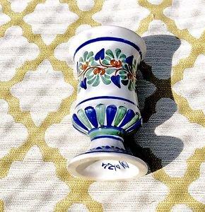 Handpainted & Signed Blue Ceramic Vase Pedestal Cup/Mug Majolica~ Made In Italy