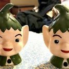 Vintage ELF Elves HEAD(s) SALT & PEPPER  SHAKERS GREEN Christmas Pixie 1950's