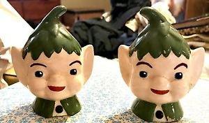Vintage ELF Elves HEAD(s) SALT & PEPPER  SHAKERS GREEN Christmas Pixie 1950's