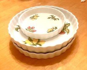 NAMAAN Porcelain SET of 3 PIE DESERT CASSEROLE DISH(ES) FRUIT LOT ~KOSHER