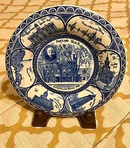STAFFORDSHIRE Transfer LONGFELLOW HOUSE 1785 Portland Blue Plate Co England