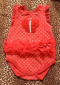Baby Girl Lacy Pink Body Suit Butterfly & Polka Dot Bows Kyle & Deena 3-6 Months