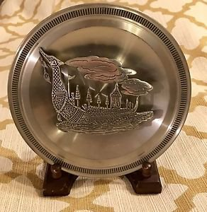 Vintage Kings Pewter Dragon Plate W/ Raised Boat Clouds Wall Mural Art Thailand