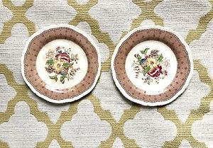 Set Of 2 Plymouth Shelton Ridgways China Floral Saucers Brown England L@@K!!