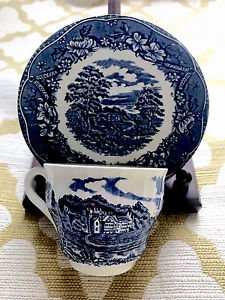 Barrats Staffordshire OLD CASTLE Blue On White Tea Cup And Saucer~ England