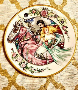 """Rare """"Rescued"""" Limited Ed. Collector Plate Camelot Prince Princess Kiss 24k"""