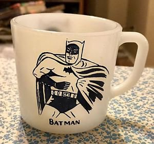 VTG Batman Mug White Glass Cup 1966 Westfield Heat Proof Double Sided Graphic A+
