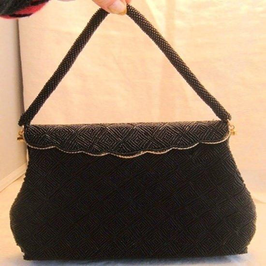 Vintage Black Beaded Evening Bag Handbag Purse