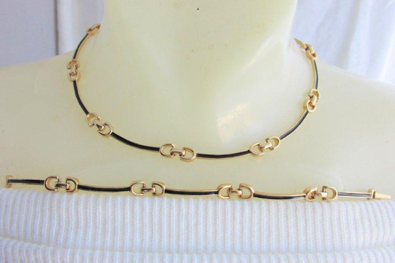 Vintage Sarah Coventry Elegant Choker Necklace Bracelet Gold Plate Black Enamel